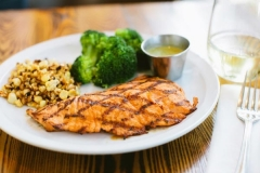Salmon, broccoli and corn